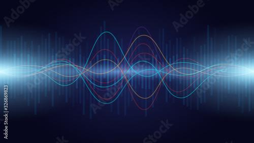 colorful sound wave audio spectrum line on dark background , vector illustration Canvas Print