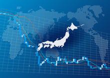 世界地図と日本の株価...