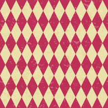 Circus Carnival Retro Vintage Dominoes Seamless Pattern. Red Diamond Shaped Rhombuses. Textured Old Fashioned Retro Graphic Template. Vector Texture Background Tile. For Parties, Birthdays