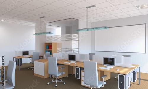 Fototapeta office, interior visualization, 3D illustration obraz na płótnie