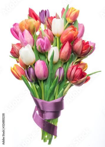 Obraz na plátně Colorful bouquet of tulips on white background.