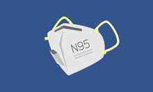 N95 Mask  For Prevent Virus And Dust, Air Pollution, Medical Mask, Contaminated Air. Flat Design