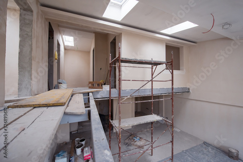 Obraz na plátně interior of construction site with scaffolding