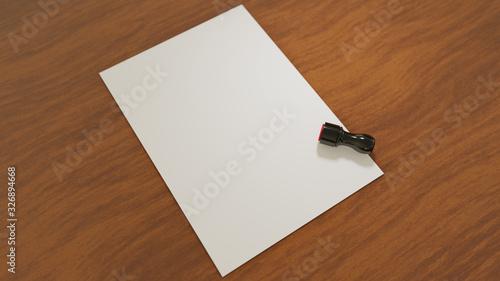 机に置かれた白紙と社判・実印・認め印などと呼ばれ、日本式の取引で使われるスタンプ Wallpaper Mural