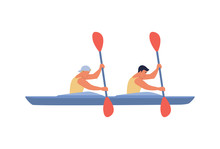 Two Rowers Swim In A Boat. Vector Illustration In Flat Design Style, The Concept Of Water Sports, Boating.