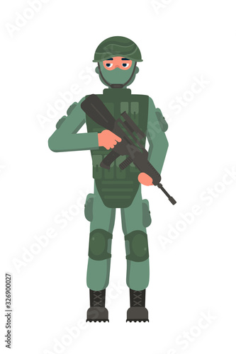 Infantryman military character with assault rifle Tablou Canvas