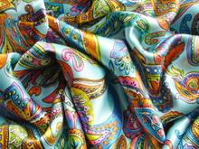 Blue Silk Fabric With Drapery....