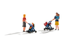 Two Miniature Figures Of Young Mothers And Babies