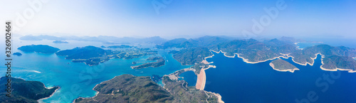 Photo wide angle aerial view of high island reservoir, far south eastern part of Sai K