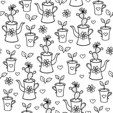 Sprout And Cactus In A Teapot And Cup With Flowers And Hearts Seamless Pattern. Hand-drawn Doodle Outline Home Plants Background For Wrappers, Banners, Scrapbooking Paper. Stock Vector Illustration.