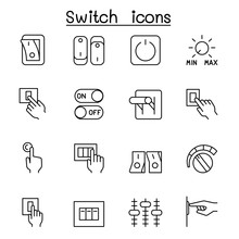 Switch Icon Set In Thin Line S...
