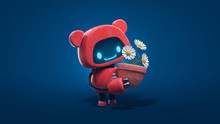 Little Cute Red Robot With Bear Ears Holds A Clay Pot With Chamomile. Concept Art Friendly Kawaii Bot With Glowing Smiling Face On The Screen. Nature Lover Robot. 3d Illustration On Blue Background.
