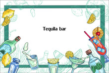 Tequila Vector Frame In Colorful Engraving Style With Bottles, Cocktails, And Agave. Background For Bars, Pubs, Restaurants In Mexican Style. With Space For Your Text.