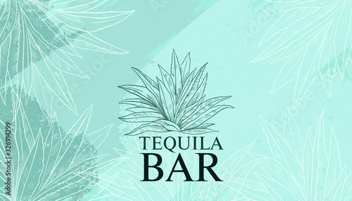 Fotografía Tequila abstract vector background in engraving style with blue and green brushstrokes and agave