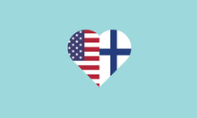 USA Finland Heart Shape Love S...