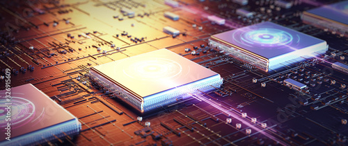 Fotografiet Printed circuit board futuristic server/Code processing in circuit board abstract server