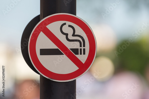 No smoking sign with green Canvas Print