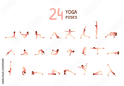 Set of tiny women performing yoga poses Canvas Print