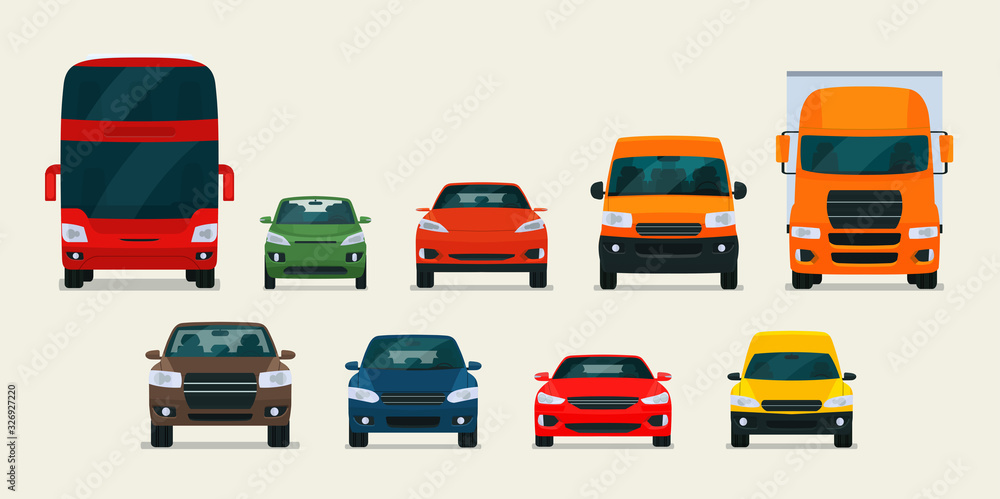 Fototapeta Big set of different models of cars. Vector flat style illustration.