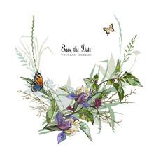 Iris Flowers And Butterflies