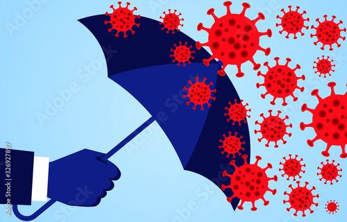 Hand holding an umbrella against the 2019 novel coronavirus pneumonia, global pl Wallpaper Mural
