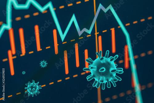 Fototapeta The coronavirus sinks the global stock exchanges. obraz