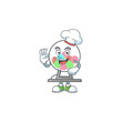 Lottery machine ball cartoon character in a chef dress and white hat