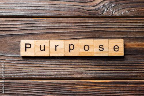 Photo purpose word written on wood block