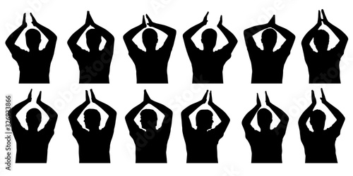 Set of silhouettes of applauding man, clapping hands Canvas Print