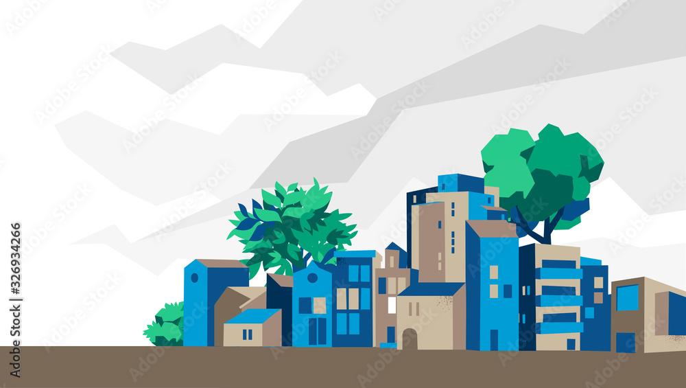 Fototapeta Panoramica città, villaggio con case e alberi, sfondo cielo con nuvole - Illustrazione vettoriale