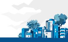 Panoramica Città, Villaggio Con Case E Alberi, Sfondo Cielo Con Nuvole - Illustrazione Vettoriale