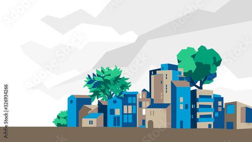 Panoramica città, villaggio con case e alberi, sfondo cielo con nuvole - Illustr Wallpaper Mural