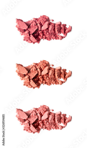 Photo Palette matte blusher smudges isolated on white background, close-up