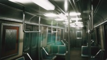 Inside Of The Old Non-modernized Subway Car In USA
