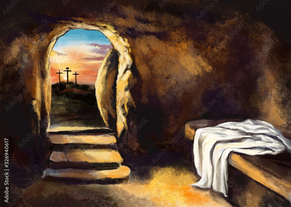 Obraz Easter Jesus Christ rose from the dead. Sunday morning. Dawn. The empty tomb in the background of the crucifixion. Happy easter. Christian symbol of faith, art illustration painted with watercolors fototapeta, plakat