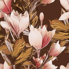 FototapetaMagnolia seamless pattern. Watercolor illustration.