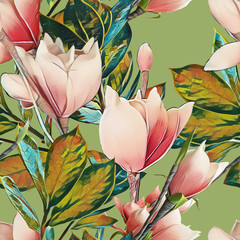 Fototapeta Współczesny Magnolia seamless pattern. Watercolor illustration.
