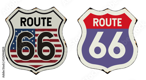 Route 66 vintage metal sign Wallpaper Mural