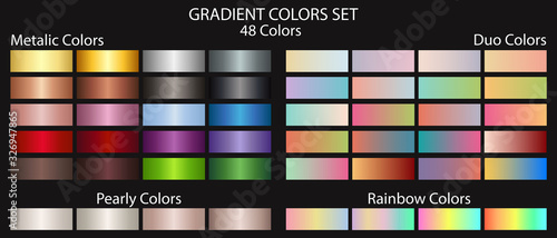 Fotomural Metal gradient color set, plus duo gradient colors, pearl colors and gradient rainbow colors