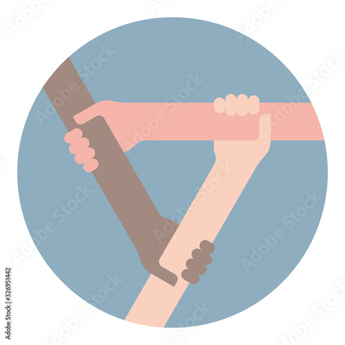 Obraz na plátně Vector icon of three holding each other hands in blue circle