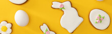 Top View Of Tasty Easter Cookies And Chicken Egg On Yellow Background, Panoramic Shot
