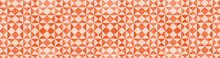 Fire Red White Traditional Motif Tiles Texture Background Banner Panorama - Vintage Retro Cement Tile With Triangular Square Pattern