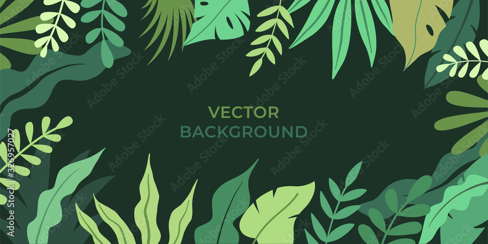 Fototapeta Vector illustration in simple flat style with copy space for text - background with plants and leaves - backdrop for greeting cards, posters, banners and placards