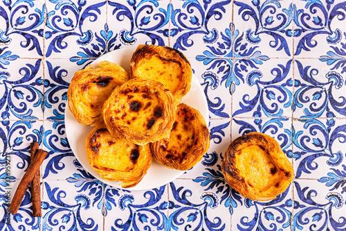 Fototapeta Egg tart, traditional Portuguese dessert, pastel de nata. obraz