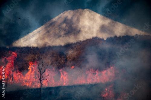 炎と火と富士山 Tablou Canvas