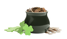 Pot Of Gold Coins And Clover O...