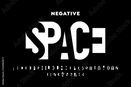 Photo Negative space style font, alphabet letters and numbers