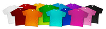 Wide Panorama Banner Row Of Many Fresh New Fabric Cotton T-shirts In Colorful Rainbow Colors Isolated. Pile Of Various Colored Shirts White Background. Diy Printing Fashion Concept.