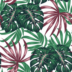 Panel Szklany Liście Trend seamless pattern. Tropical leaves and plants on white background. Illustration in Hawaiian style. Jungle leaves. Botanical pattern. Vector background for various surface. Exotic wallpaper.