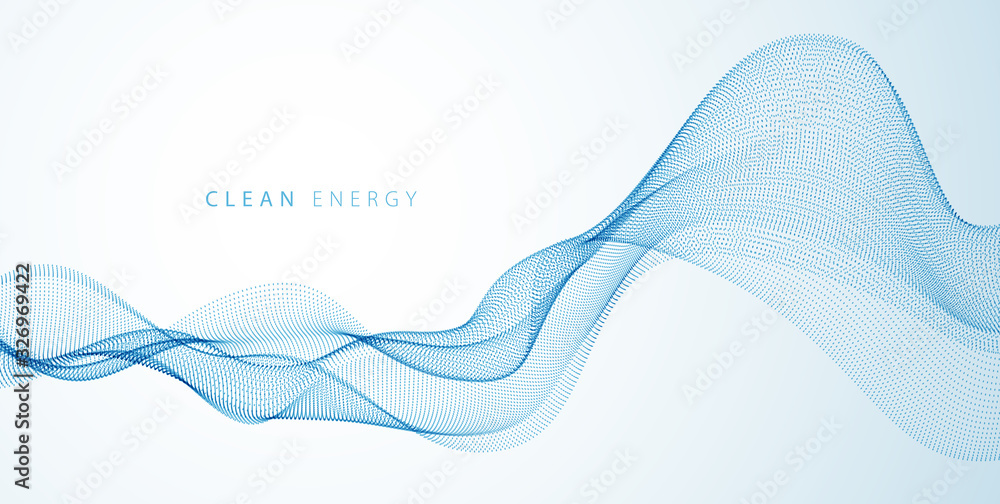 Fototapeta Flowing energy particles, wave of blended dots. Curved dotted 3d lines vector effect illustration. 3d futuristic technology style.